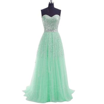 Favebridal Women's A-Line Sweetheart Sweep Train Tulle Prom Dress FSD085
