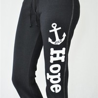 HOPE ANCHOR CAPRI SWEATS-BLACK