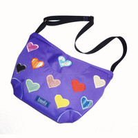 Purple applicated purse with hearts