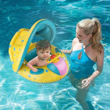 Baby Safe Inflatable Swimming Float Sunshade Seat Pool Infant Swimming Bathing Circle Adjustable Inflatable Floats Summer Toy