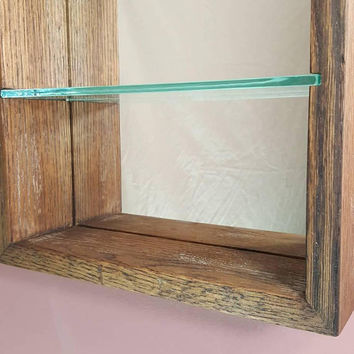 "Shadow Display box, Glass shelf, Mirror back, Dark Walnut distressed w/ slight Teal, White brown frame hinged door w/ 1/8"" glass"