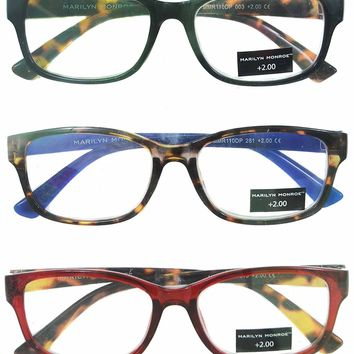Marilyn Monroe Blue Red Animal Print Reading Glasses 3 Pack Readers