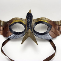 Steampunk Leather Mask for Masked Ball Domino Bird Copper, Silver, and Aged Gold