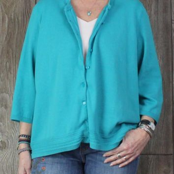 Nice Talbots Cardigan Sweater 3x size Blue Stretch Cotton Easy Wear Casual