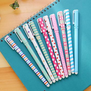 10 PCS/pack High Quality 0.38mm Gel Pens Cute Korea Hot Sale Stationery Store School Office Supplies Lovely Floral Sign Pens