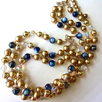 Blue MoonGlow Japan Gold Tone Necklace, Gold Beads, Crystal, Multi 3-Strand,  Vintage