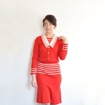 red nautical knit dress . Adolfo sailor girl frock . gold initial A buttons .extra small.small.xs