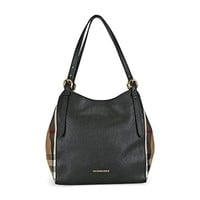 Burberry Womens Canterbury Leather House Check Tote Handbag Black Small