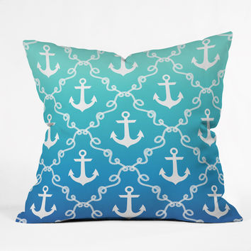Jacqueline Maldonado Nautical Knots Ombre Blue Throw Pillow