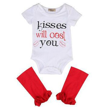 "2PC ""Kisses Will Cost You"" Bodysuit with Red Leg Warmers"