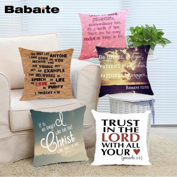 Babaite Christian Bible Verse Square Zippered Bedding Pillow Case Cover Fronha Capa de Almofada Almofadas Decorativas Fronha