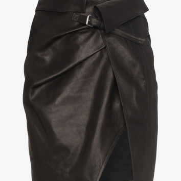 MINI LEATHER WRAP SKIRT