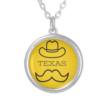 Texas in Yellow 2 Silver Plated Necklace