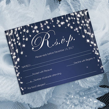 DIY Printable Wedding RSVP Template | Editable MS Word file | 5.5 x 4.25 | Instant Download | Navy Blue Diamond Shower