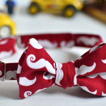 Moustache bow tie, Red bow tie for boys, Adjustable bow tie, Toddler bow tie, Wedding bow tie, White mustache on red bow tie, Cotton bow tie