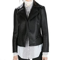 Black Leather Jacket with Zipper
