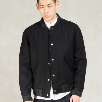 A.P.C. Black Teddy Seven Wool Varsity Jacket | HBX.