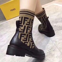 Fendi Fashion Sports knitting Elastic Stocking Ankle Short Boots shoes Best Quality black