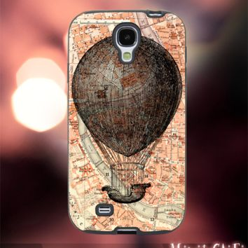 MC611Y,3,World,Classic,Old,Map,hot Air Balloon-Accessories case cellphone-Design for Samsung Galaxy S5 - Black case - Material Soft Rubber