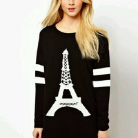 Black Eiffel Tower Pattern Print Long Sleeve Knit Sweater