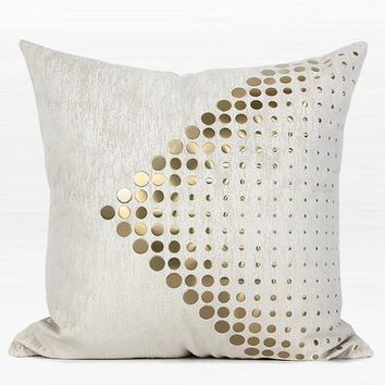 "White with Gold Textured Dots Arrow Pattern Pillow 20""X20"""