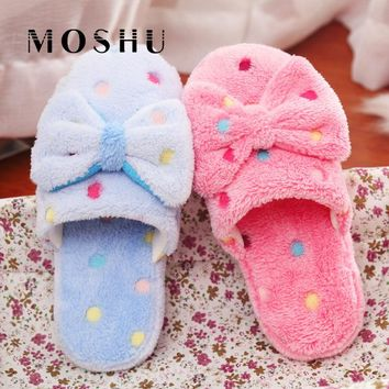Women Winter Home Slippers Non Slip Cute Butterfly-knot Indoor Slippers Warm Plush Soft Couple Shoes for Bedroom Fox Fur Slides
