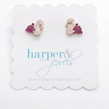 Flamingo Dazzle Stud Earrings