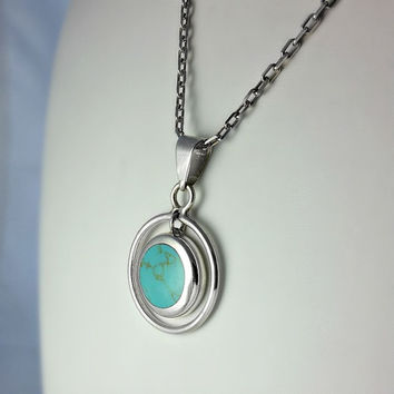 Sterling Pendant Turquoise Cabochon Necklace -18 Inch Sterling Chain - Round Turquoise Pendant
