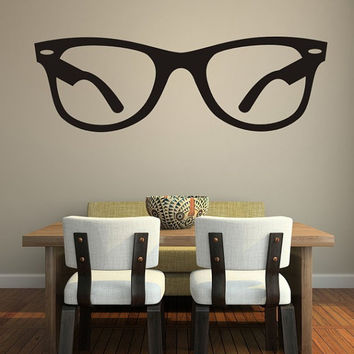 Wall Decal Hipster Glasses Dorm Decor Fashion Trendy Eyewear Specs