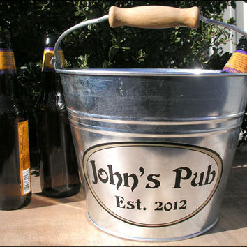 Personalized Beer Bucket, Groomsmen Gift - Galvanized Metal Bucket, Gifts for Men - Large Size (6qt)