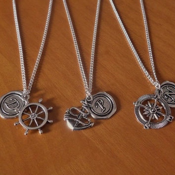 3 Rudder, Anchor, Compass Best Friend Necklaces with initial name charm, BFF, Sisters,  Christmas Gift