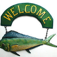Painted Metal Maui Maui - Dolphin Fish Welcome Sign - Nautical Metal Art