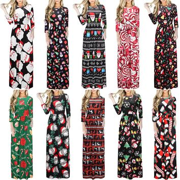 Women Floral Print 3/4 Sleeve Christmas Maxis
