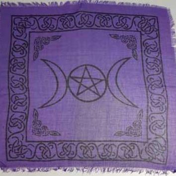 "Triple Moon W-pentagram Altar Cloth 18"" X 18"""