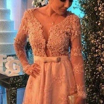 Lace Applique Homecoming Dresses, Long Sleeves Homecoming Dresses, Homecoming Dress