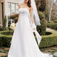 Chiffon A-line Gown with Side Draped Bodice - David's Bridal - mobile