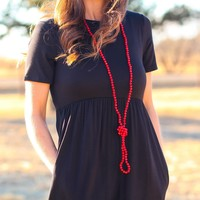 Long Beaded Necklace in Red