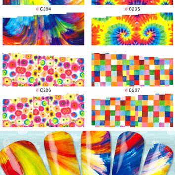 1sheets New Circle Dot Artistical Designs Water Decals Nail Art Full Wraps Tips Nails Decorations of Nail Art Stickers C204-207
