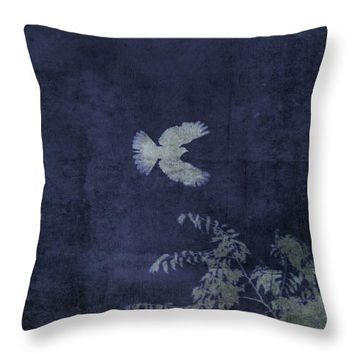 Doves Flight Indigo Throw Pillow
