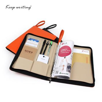A4 Zipped Conference Folder Business Faux Leather Document Case Bag Portfolio file folder agreement briefcase with handle