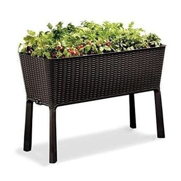 Garden Patio Storage Flower Plant Planter Raised Elevated Bed Easy Grow Brown