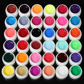 36 Pcs Colors Pots Cover Pure Colors UV Gel For Nail Art Basis Glue Tips Extension (Color: Multicolor) = 5658921089