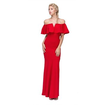 Long Formal Red Dress Off Shoulder with V-Notch Ruffled Bodice