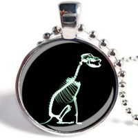 X-Ray Dog Pendant,  X-Ray Dog Necklace, Xray Jewelry, Dog Jewelry, Glass Art Pendant, Vet Jewelry (XR03)