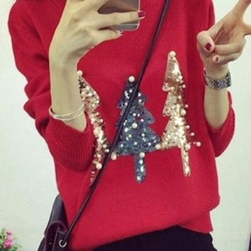 Red Sparkly Sequin Christmas Tree Print Beading Cute Slim Pullover Sweater Knit Jumper