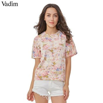 Women Floral Number Print Pink T Shirt Basic O Neck Short Sleeve Casual Summer Social Feminine Tops