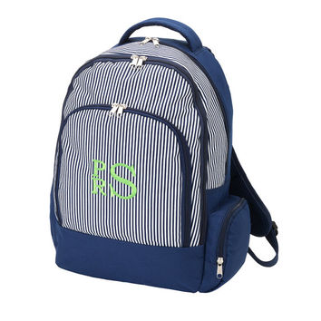 Monogrammed Backpack Navy Blue Pinstripe Bookbag Back Pack Book Bag Boys