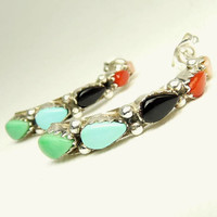 Vintage Southwestern Sterling 925 Gemstone Earrings Half Hoop Pierced Earrings