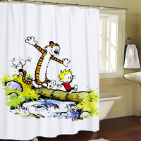 calvin and hobbes Shower Curtains
