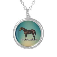 Brown Horse Silver Plated Necklace